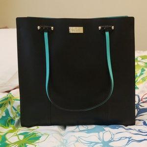 Kate Spade Black and Teal Bucket Bag